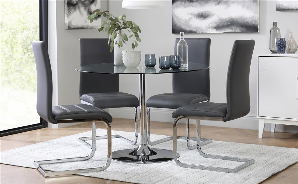 Orbit Round Glass & Chrome Dining Table – With 4 Perth Grey Chairs Throughout Perth Glass Dining Tables (View 14 of 25)