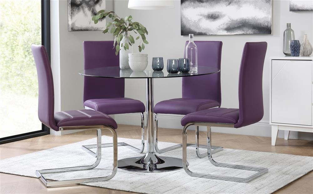 Orbit Round Glass & Chrome Dining Table With 4 Perth Purple Chairs Inside Dining Tables And Purple Chairs (Image 13 of 25)