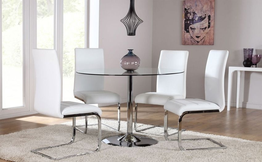Orbit Round Glass & Chrome Dining Table – With 4 Perth White Chairs Pertaining To Chrome Dining Tables And Chairs (Image 17 of 25)