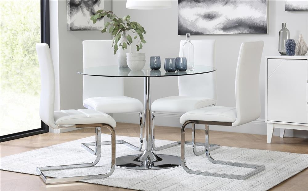 Orbit Round Glass & Chrome Dining Table With 4 Perth White Chairs Pertaining To Perth Dining Tables (Image 17 of 25)