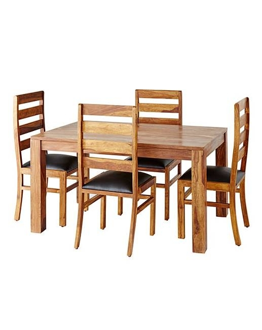 Origen Sheesham Dining Table & 4 Chairs | J D Williams For Sheesham Dining Tables And 4 Chairs (View 14 of 25)