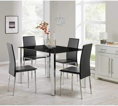 Orlando Dining Table Set & Black Faux Leather Chairs | Furniturebox With Dining Tables Black Glass (Image 22 of 25)