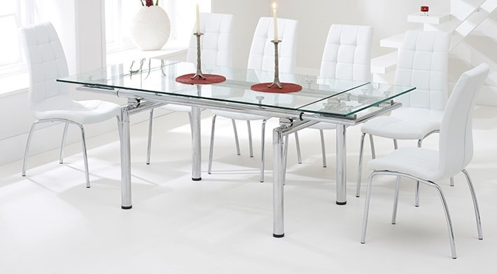 Orren Ellis Andaman Extendable Dining Table And 6 Chairs & Reviews Throughout Glass Extendable Dining Tables And 6 Chairs (Image 20 of 25)