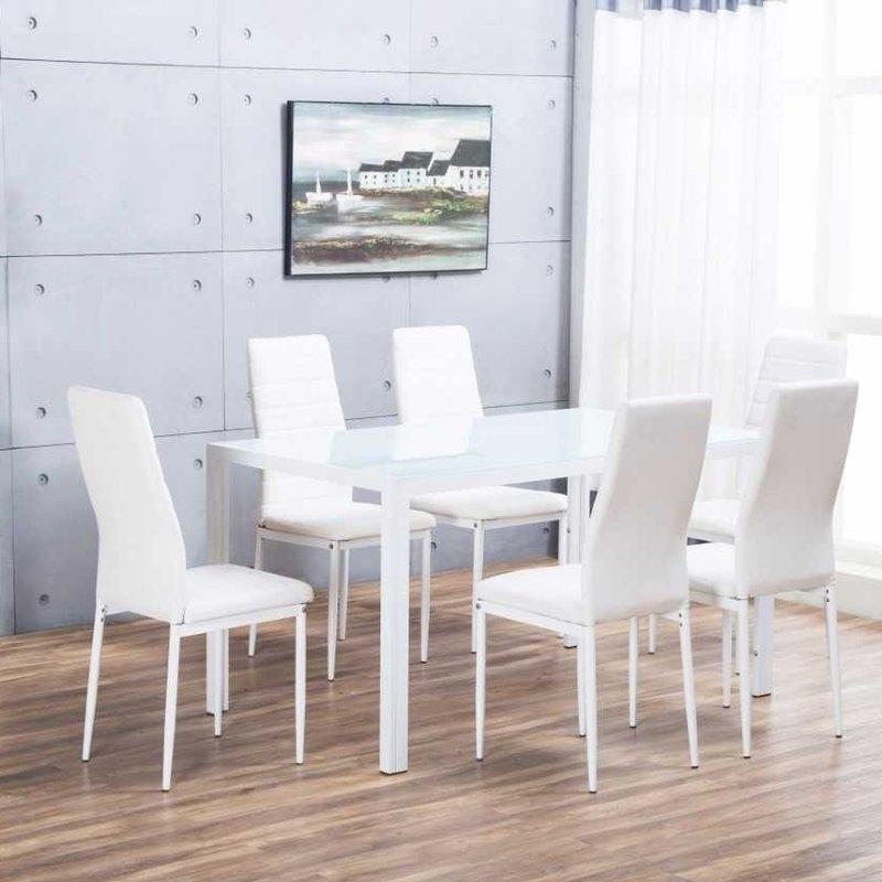Orren Ellis Rafaella Dining Set With 6 Chairs & Reviews | Wayfair.co (View 19 of 25)