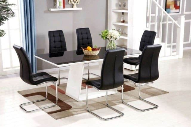 Orren Ellis Redditch High Gloss Glass Dining Set With 6 Chairs With Regard To Glass Dining Tables With 6 Chairs (Image 19 of 25)