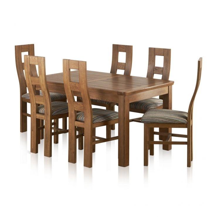 Orrick Extending Dining Set In Rustic Oak: Table + 6 Beige Chairs In Extendable Dining Tables 6 Chairs (Image 20 of 25)