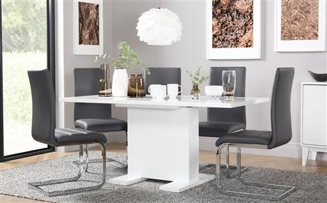 Osaka White High Gloss Extending Dining Table And 4 Chairs Set in Grey Gloss Dining Tables