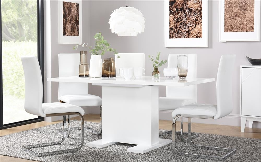Osaka White High Gloss Extending Dining Table And 4 Chairs Set Regarding White Gloss Extending Dining Tables (Image 11 of 25)
