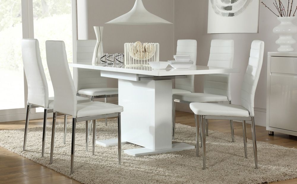 Osaka White High Gloss Extending Dining Table And 6 Chairs (Lunar Throughout Extendable Dining Tables With 6 Chairs (View 14 of 25)