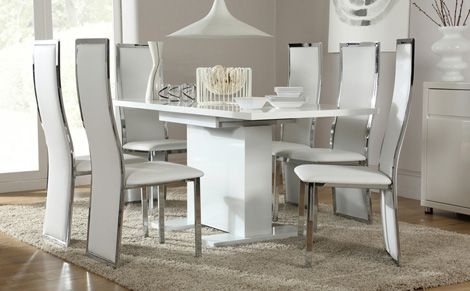 Osaka White High Gloss Extending Dining Table And 6 Chairs Set Inside White Gloss Dining Room Tables (Image 20 of 25)