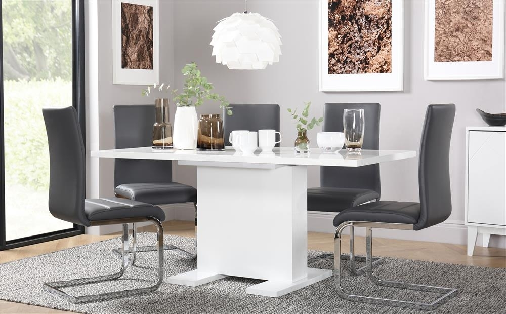 Osaka White High Gloss Extending Dining Table And 6 Chairs Set intended for Dining Tables With Grey Chairs