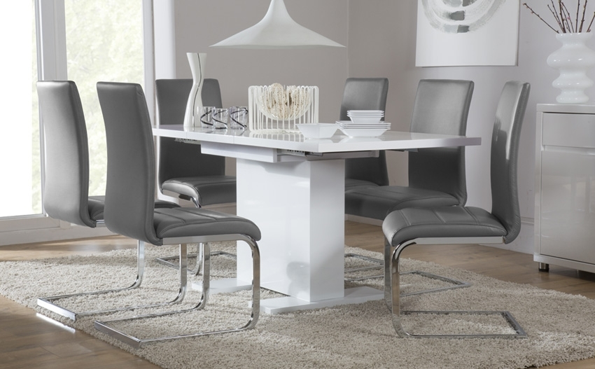 Osaka White High Gloss Extending Dining Table And 6 Chairs, Small with Small Extendable Dining Table Sets