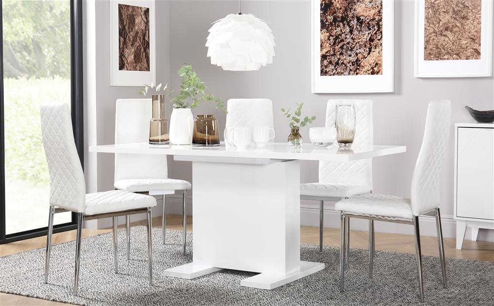 Osaka White High Gloss Extending Dining Table With 4 Renzo White Within Amos Extension Dining Tables (Image 21 of 25)
