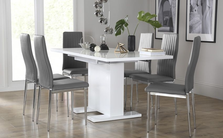 Osaka White High Gloss Extending Dining Table - With 6 Leon Grey for Gloss Dining Tables and Chairs