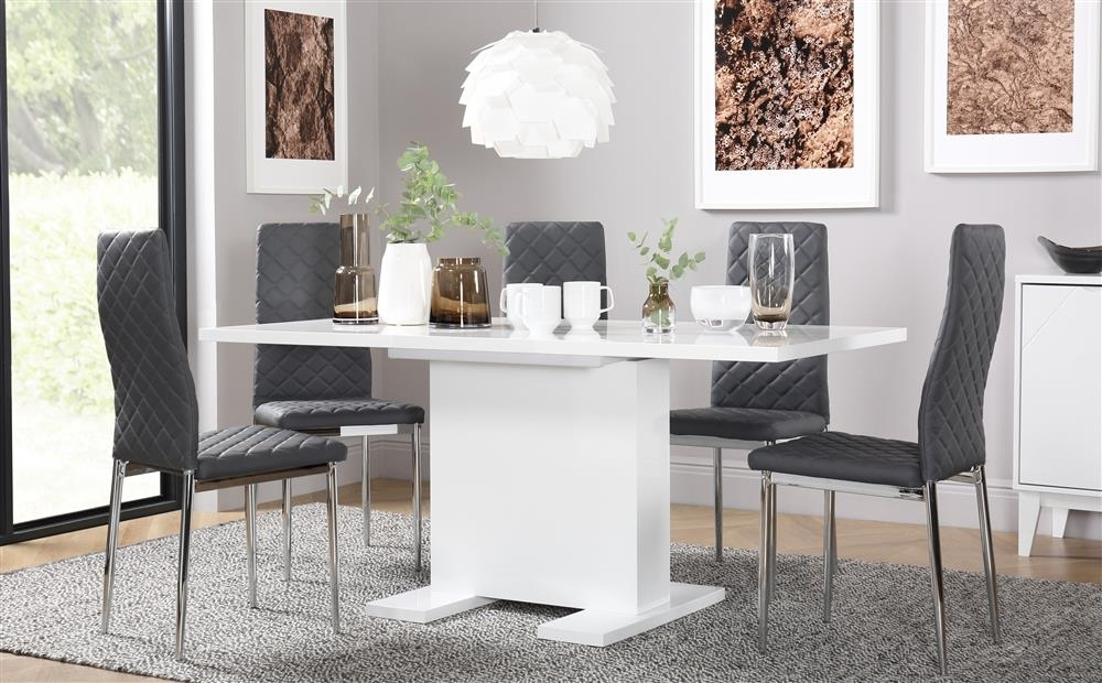 Osaka White High Gloss Extending Dining Table With 6 Renzo Grey within Amos Extension Dining Tables