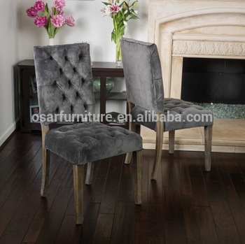 Osar French Style Upholstered Louis Button Back Luxury Velvet Dining Within Button Back Dining Chairs (Image 22 of 25)