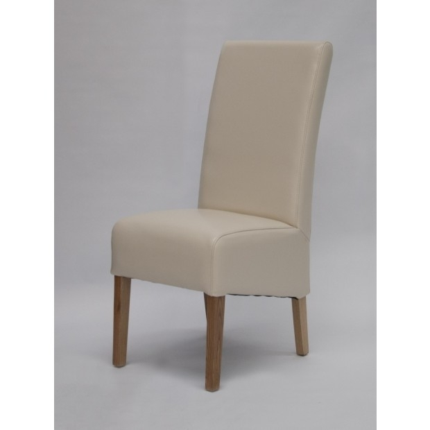 Oslo Cream Leather Dining Chair With Solid Oak Legs (Image 19 of 25)
