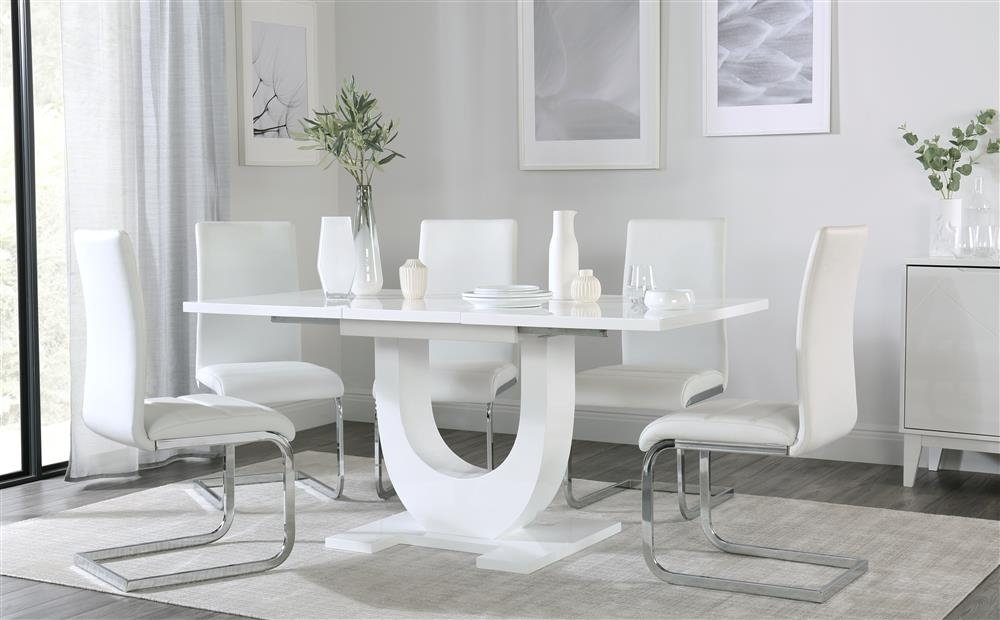 Oslo White High Gloss Extending Dining Table With 4 Perth White With Perth White Dining Chairs (Image 15 of 25)