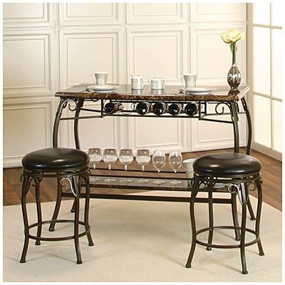 Our New Wine Bar. :>) Counter Height Marquee 3 Piece Bar Set At Big Intended For Valencia 3 Piece Counter Sets With Bench (Photo 4 of 25)