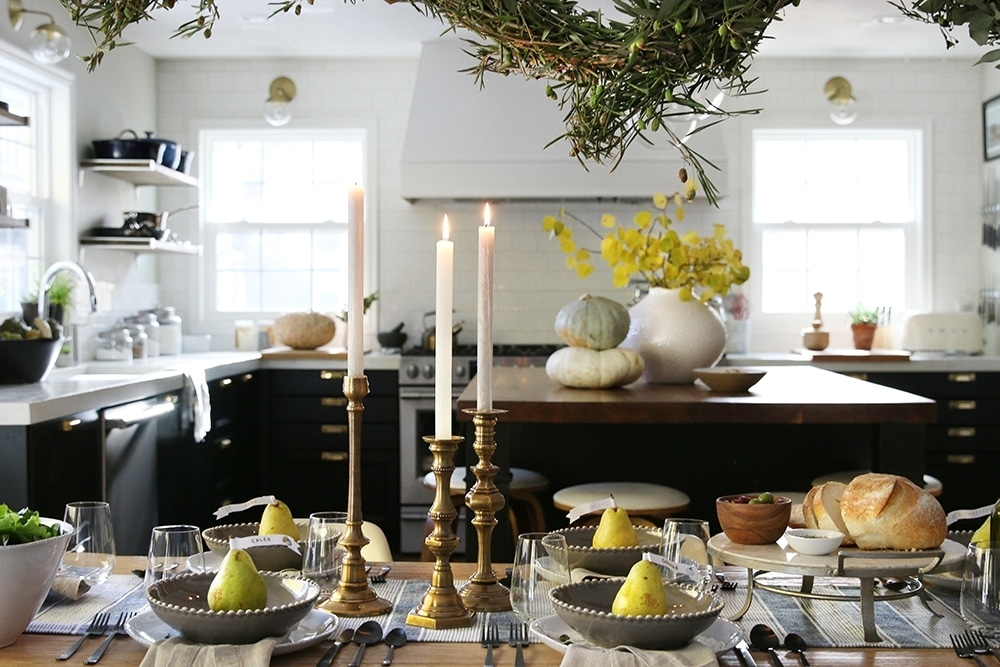 Our Thanksgiving Table, Tradition And $500 To Arhaus! – Chris Loves With Regard To Combs 7 Piece Dining Sets With  Mindy Slipcovered Chairs (Image 18 of 25)
