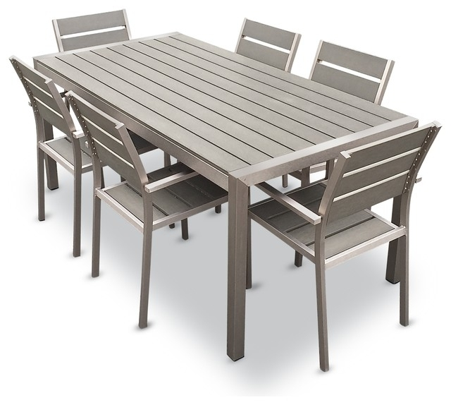 Outdoor Aluminum Resin 7 Piece Dining Table And Chairs Set In Dining Table Chair Sets (Image 19 of 25)