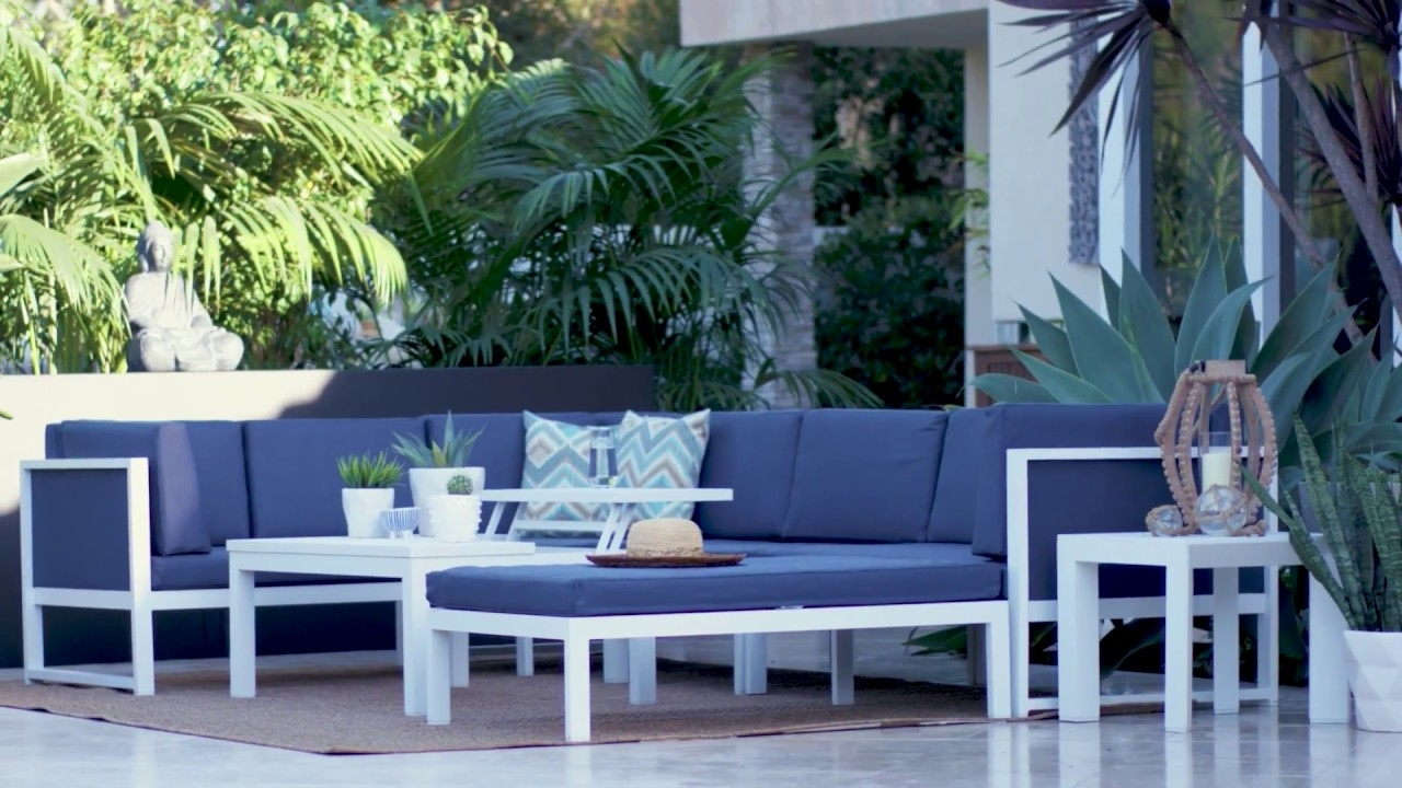 Outdoor Biscayne Ii Sectional | Living Spaces - Youtube intended for Denali Light Grey 6 Piece Reclining Sectionals With 2 Power Headrests