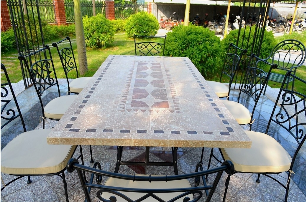 Outdoor Garden 160 200 240Cm Mosaic Natural Stone Marble Dining Pertaining To Garden Dining Tables (Photo 5 of 25)