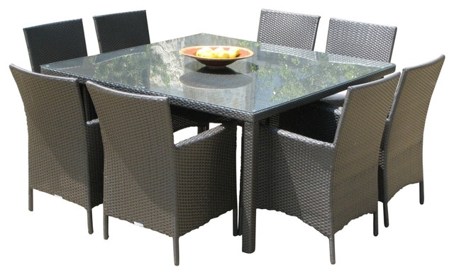 Outdoor Wicker New Resin 9 Piece Square Dining Table And Chairs Set Throughout Outdoor Dining Table And Chairs Sets (Image 17 of 25)