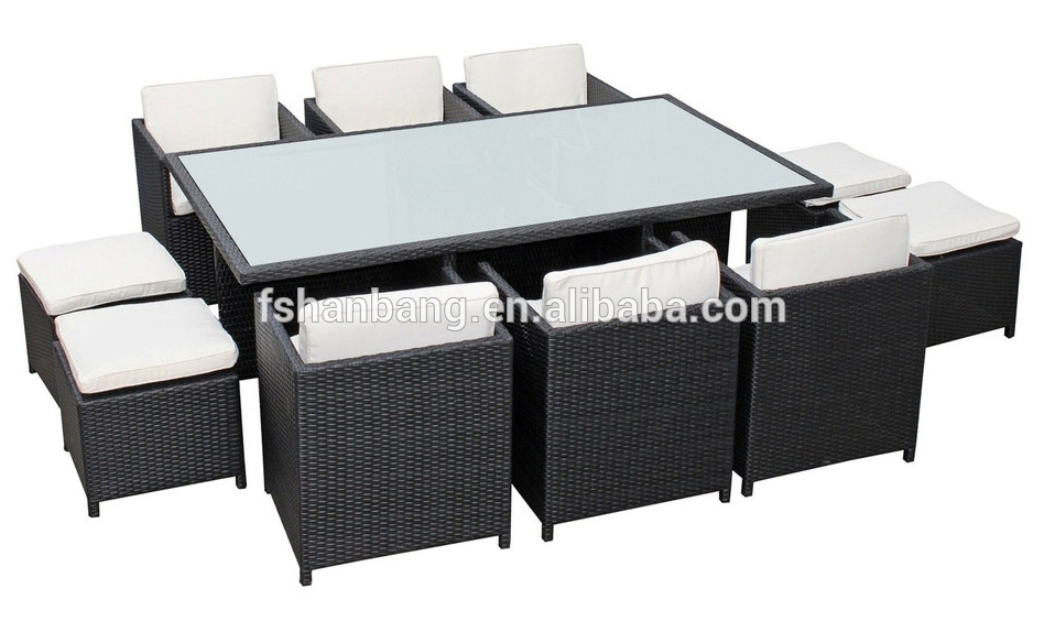 Outdoor Wicker Patio Rattan Cube Garden 11 Piece Dining Table And With Regard To Cube Dining Tables (Image 24 of 25)