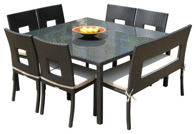 Outdoor Wicker Resin 8 Piece Square Dining Table Chairs And Bench Throughout Outdoor Dining Table And Chairs Sets (Photo 22 of 25)