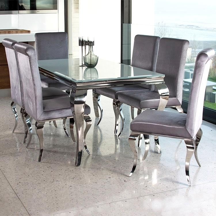 Outstanding Chrome Glass Dining Table Cool Silver Rectangle Modern With Regard To Chrome Dining Sets (View 5 of 25)
