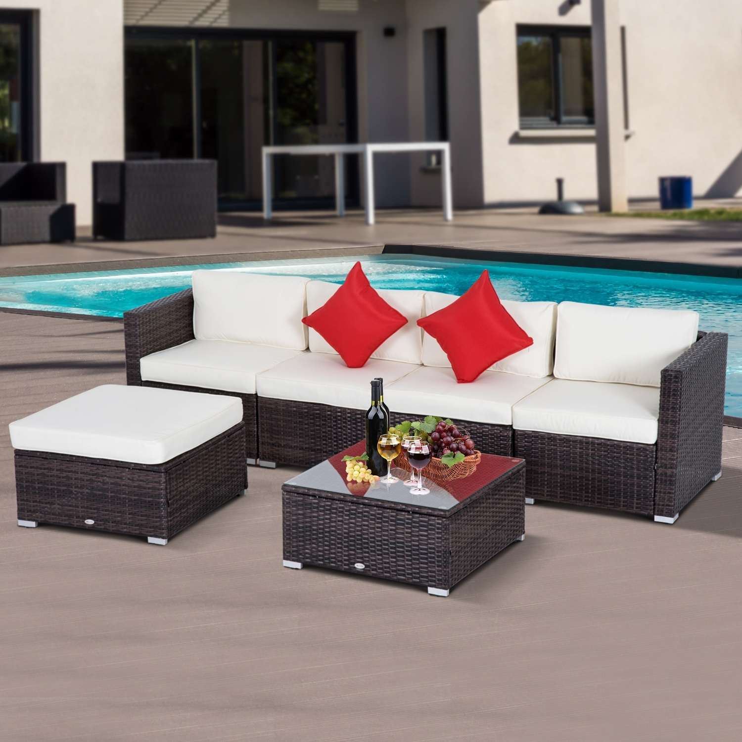Outsunny 6Pc Rattan Wicker Patio Sofa Set Sectional Garden Yard Within Marius Dark Grey 3 Piece Sectionals (Image 21 of 25)