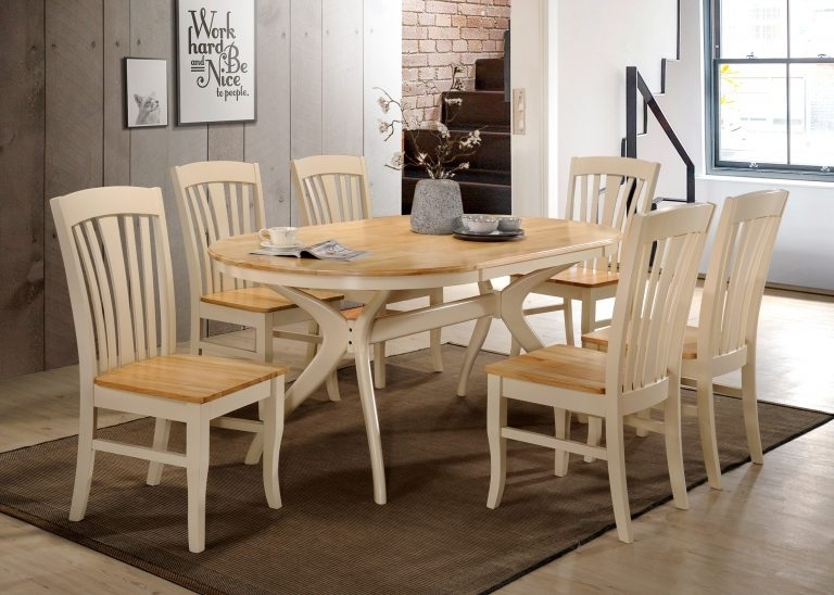 Oval Dining Table & 6 Chairs – Cream/oak Brittany | Tadhg O'connor For Brittany Dining Tables (Image 24 of 25)