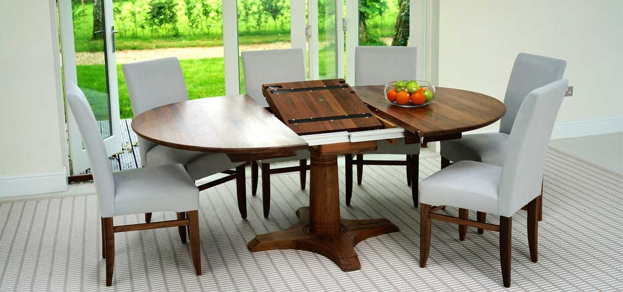 Oval Dining Table | Pedestal Walnut & Oak Dining Tables Pertaining To Round Dining Tables Extends To Oval (View 23 of 25)