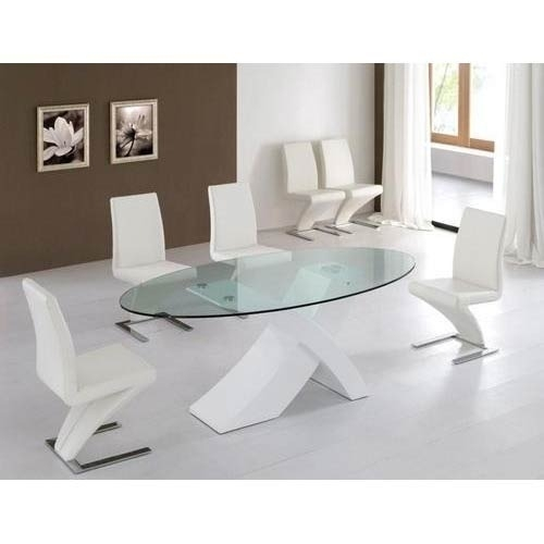 Oval Shaped Glass Top Dining Table, Glass Dining Room Table, Glass For Dining Room Glass Tables Sets (Image 21 of 25)