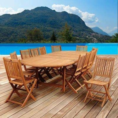 Oval – Teak – Patio Dining Sets – Patio Dining Furniture – The Home Inside Outdoor Brasilia Teak High Dining Tables (Photo 14 of 25)