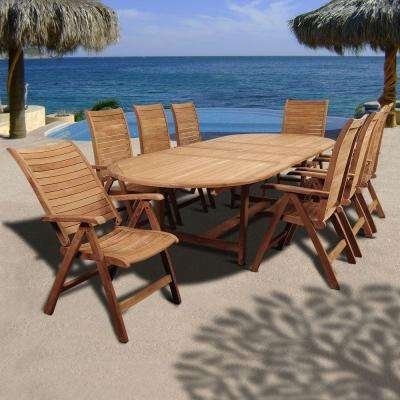 Oval – Teak – Patio Dining Sets – Patio Dining Furniture – The Home Throughout Outdoor Brasilia Teak High Dining Tables (Photo 13 of 25)