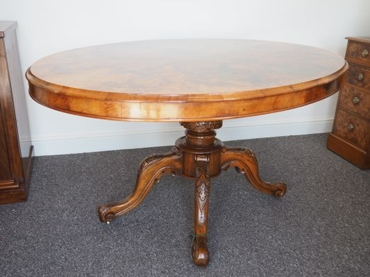 Oval Victorian Burr Walnut Dining Table For Sale At Pamono Regarding Walnut Dining Tables (Image 16 of 25)