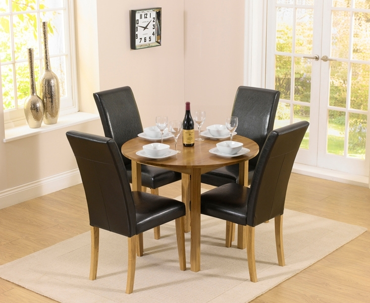 Oxford 90Cm Solid Oak Drop Leaf Extending Dining Table With Albany inside Oak Extending Dining Tables And Chairs