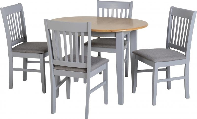 Oxford Extending Dining Table + 4 Chairs In Grey – Pp Homestores Pertaining To Extendable Dining Table And 4 Chairs (Image 16 of 25)
