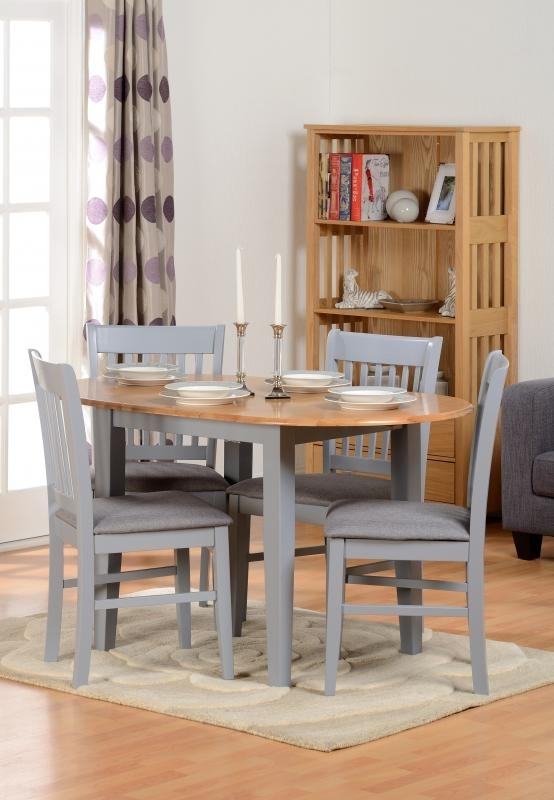 Oxford Extending Dining Table + 4 Chairs In Grey – Pp Homestores Regarding Oak Extending Dining Tables And 4 Chairs (Image 15 of 25)