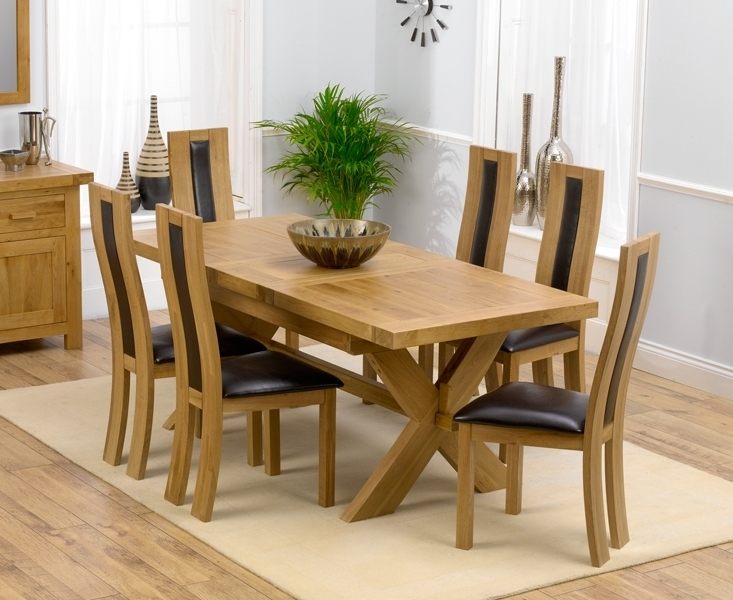 Padova Solid Oak 160Cm Extending Dining Set With 4 Esher Brown Chairs Intended For Oak Extending Dining Tables And 6 Chairs (Image 19 of 25)