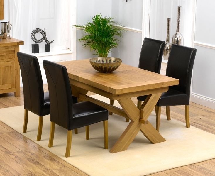 Padova Solid Oak 160Cm Extending Dining Set With 4 Gatsby Brown Chairs intended for Oak Extending Dining Tables and 4 Chairs