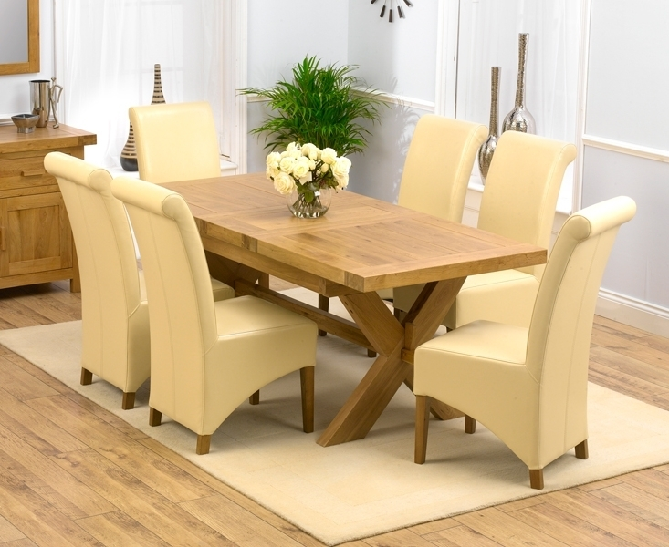 Padova Solid Oak 160Cm Extending Dining Set With 4 Rome Cream Chairs Intended For Roma Dining Tables And Chairs Sets (Image 11 of 25)