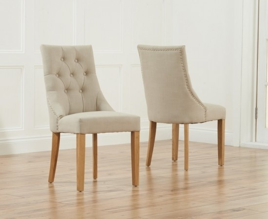 Pailin Beige Oak Leg Fabric Dining Chairs (Pair) | Morale Home Pertaining To Fabric Dining Chairs (Image 20 of 25)