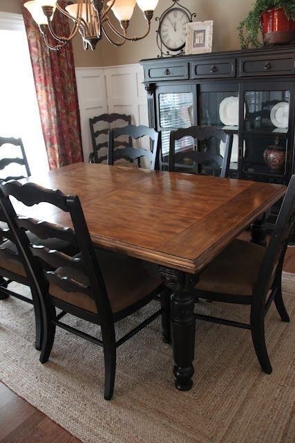 Paint Dining Room Set Black – Leave Top As Wood And Glass – | Ideas For Black Wood Dining Tables Sets (Image 22 of 25)