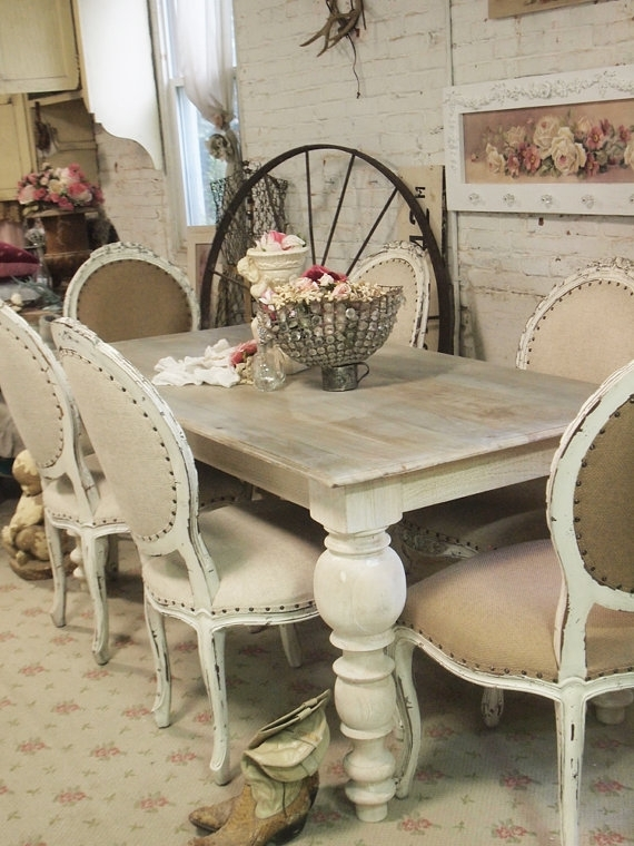 Painted Cottage Chic Shabby French Linen Dining Table Farm Table Within French Chic Dining Tables (Image 16 of 25)