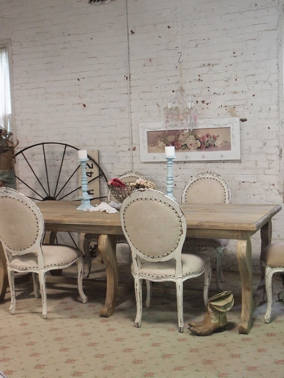 Painted Cottage Chic Shabby French Linen Farm Dining Table Farm In French Farmhouse Dining Tables (Image 20 of 25)