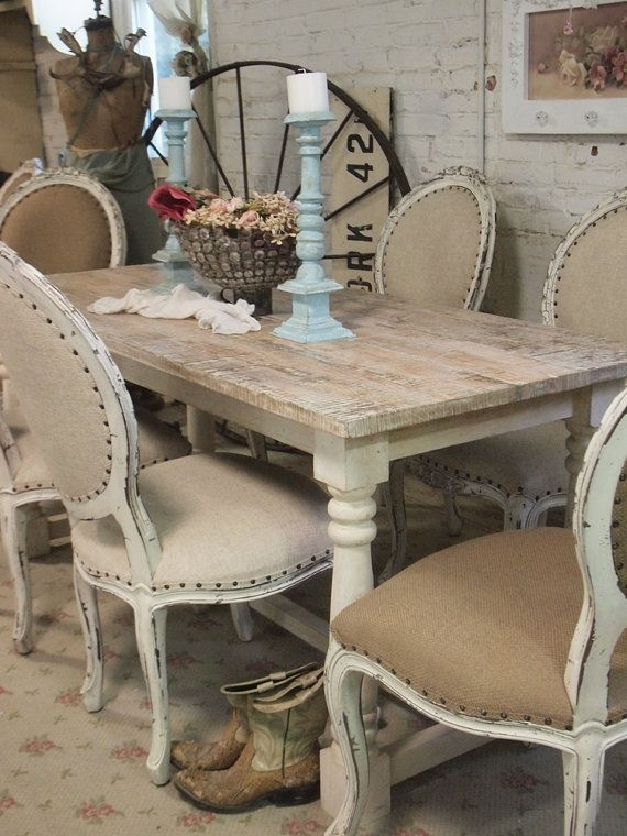Painted Cottage Chic Shabby French Linen Farmpaintedcottages With French Chic Dining Tables (View 22 of 25)
