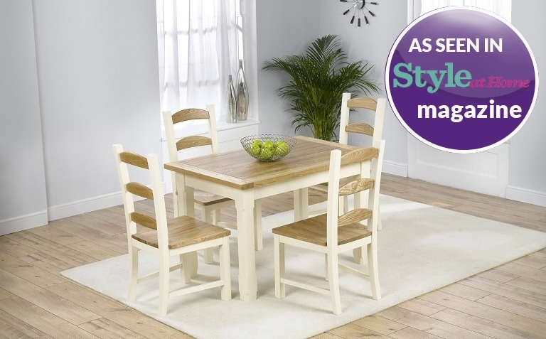 Painted Dining Table Sets | Great Furniture Trading Company | The intended for Cream And Wood Dining Tables